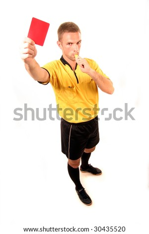 a football judge with red card and whistle - stock photo