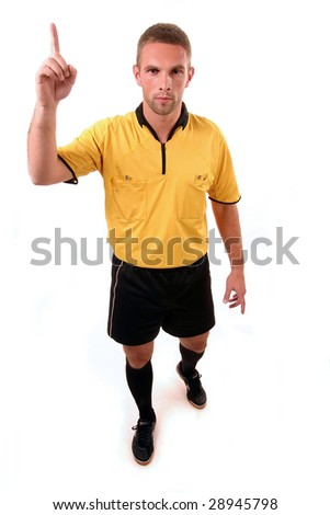 a football judge with symbol finger - stock photo