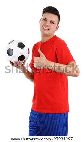 A football player with a thumbs up sign, isolated on white - stock photo