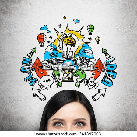 A forehead of brunette woman who is brainstorming about a business plan for business development. A colourful business plan sketch is drawn on the concrete wall behind the person. - stock photo