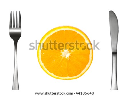 A fork and knife isolated on white - stock photo