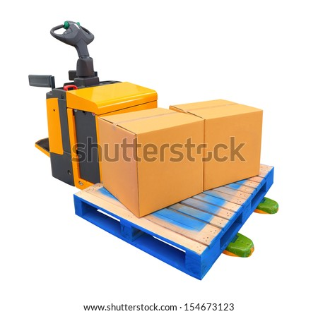 A forklift truck (also called a lift truck, a fork truck, or a forklift) is a powered industrial truck used to lift and transport materials - stock photo