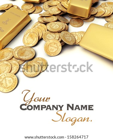 A fortune in gold ingots and coins with lots of copy - stock photo