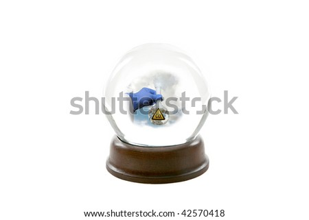 """a fortune teller crystal ball, shows a ghostly image of a mad scientist holding a beaker of CO2 aka """"Carbon Dioxide"""" releasing it into the earths atmosphere causing """"Global Warming"""" isolated on white - stock photo"""