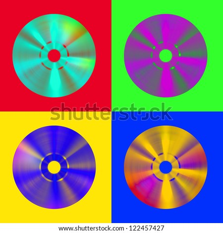 A four cd disk in pop-art style - stock photo