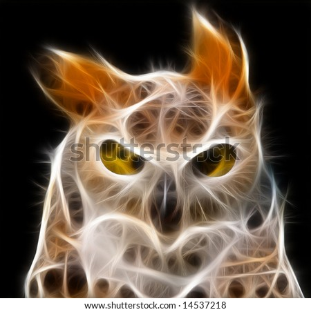 a fractal render of an owl - stock photo