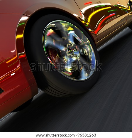 A fragment of a dynamic racing car. On the surface of the car and light-alloy wheels reflect the dynamic lights of evening city - stock photo
