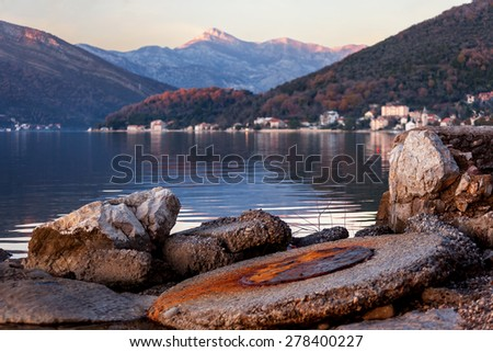a fragment of a Tivat bay.Montenegro. - stock photo