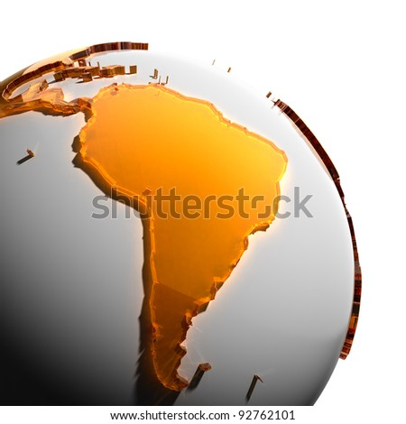 A fragment of the globe with the continents of thick faceted amber glass, which falls on hard light, creating a caustic glare on faces. Isolated on white background - stock photo