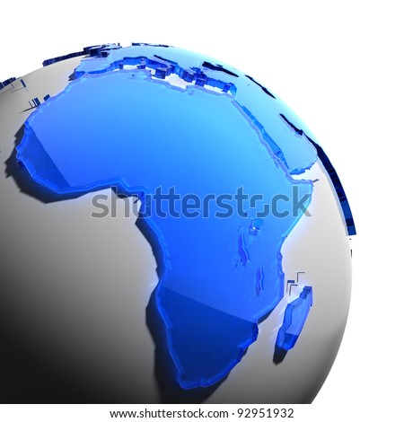 A fragment of the globe with the continents of thick faceted blue glass, which falls on hard light, creating a caustic glare on faces. Isolated on white background - stock photo