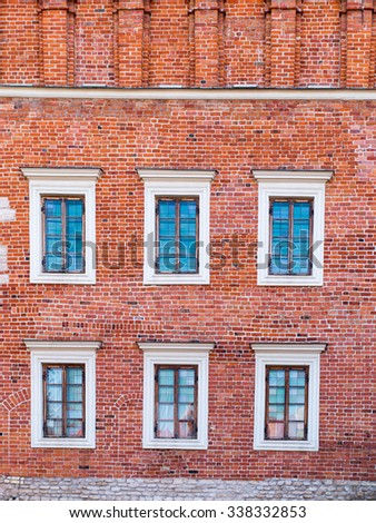 a fragment of the historic brick building on the market in Sandomierz, Poland - stock photo