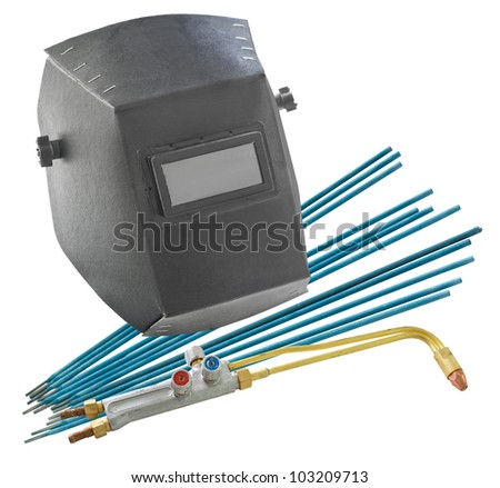 a free shield, welding electrodes and a nozzle for an autogenous - welder tools - stock photo