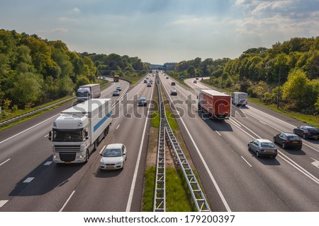 A12 Freeway Traffic seen from Above - stock photo