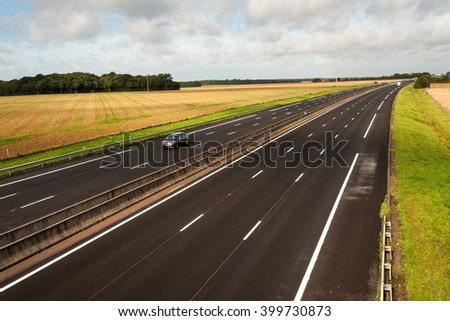 A13 French motorway from Paris to Caen through Normandy - stock photo