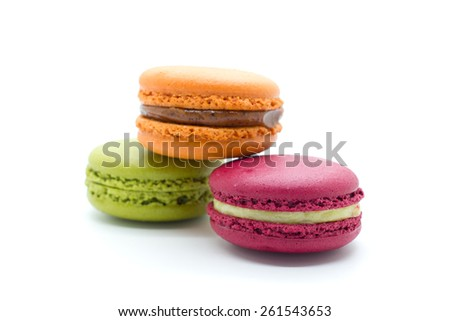 A french sweet delicacy, macaroons variety closeup. - stock photo