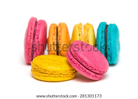 A french sweet delicacy, macaroons variety closeup - stock photo