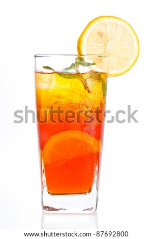 A fresh cool ice lemon tea to be enjoyed anytime of the day - stock photo