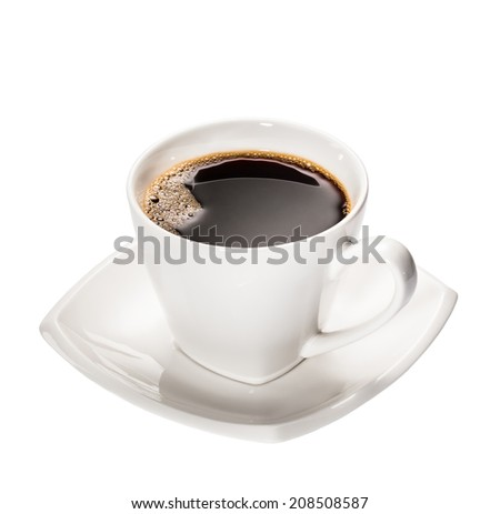 A fresh Cup of Espresso Coffee in a white cup and saucer isolated on white. - stock photo