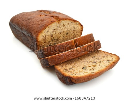 A fresh homemade loaf of banana walnut bread on white background  - stock photo
