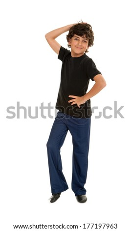 A Fresh Jazz Dancing Boy Ready For His Performance - stock photo