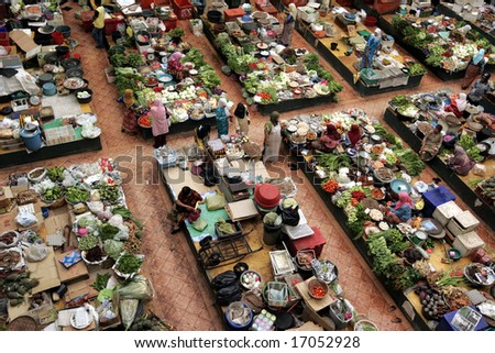 A fresh market from high view. - stock photo