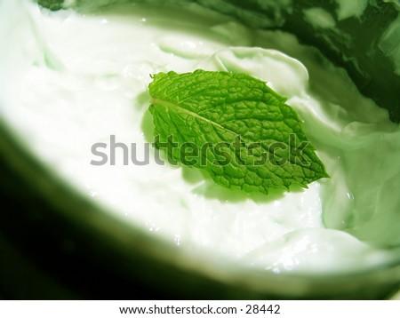 A fresh mint leaf sitting in a tub of mint body cream. - stock photo
