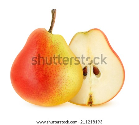 A fresh pear isolated on white - stock photo