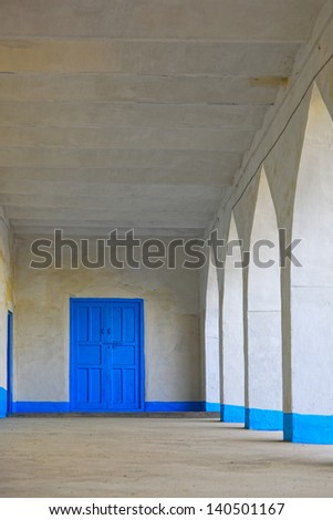 A freshly painted mosque in Kandahar Province, Afghanistan. - stock photo