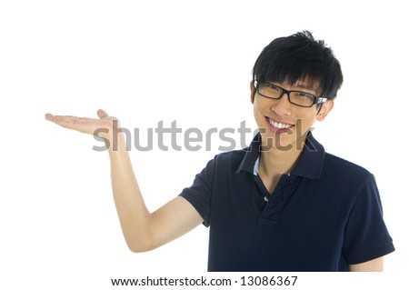 a friendly young asian student - stock photo
