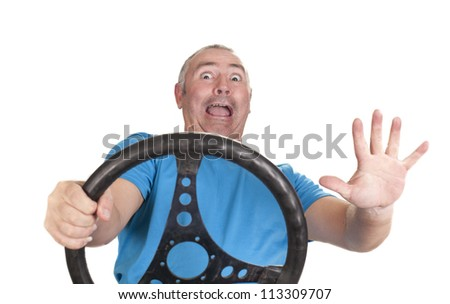 a frightened man, because of the danger of collision with another vehicle - stock photo
