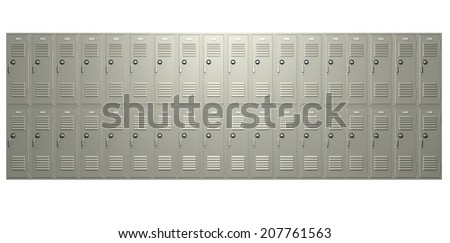 A front on view of a stack of metal school lockers with combination locks and doors shut on an isolated background - stock photo