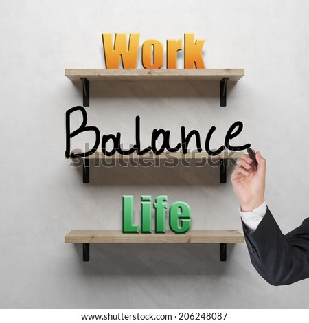 A front view of a regular three wooden shelves with words on them: Work, Balance, Life. A metaphor of life choice and priority - stock photo