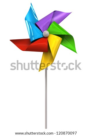 A front view of a regular toy pinwheel windmill with five differently colored vanes on a stick on an isolated background - stock photo