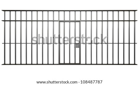 A front view of the bars of a jail cell with iron bars and a door on an isolated background - stock photo