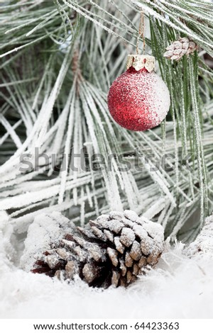 A frozen Christmas ornament hanging on a pine tree branch in the cold, white, snowy outdoor wilderness. - stock photo
