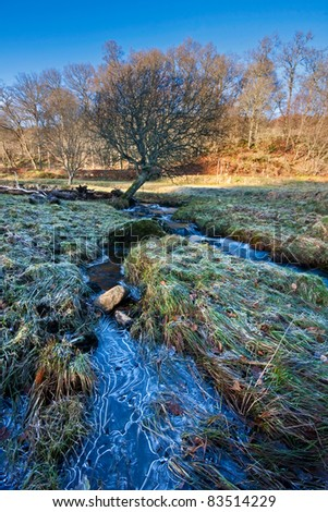 A frozen stream in a frosty field in rural Perthshire, Scotland, on a bright sunny winter afternoon. - stock photo