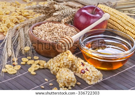 A fruit and nut cereal protein bars with honey and cornflakes - stock photo