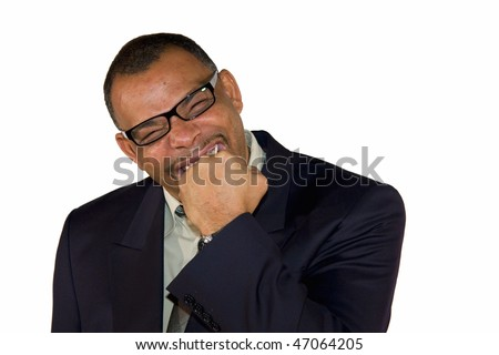 a frustrated and angry mature African-American businessman biting into his fist, isolated on white background - stock photo