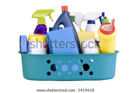 A full bucket of cleaning supplies. The daily grind. - stock photo