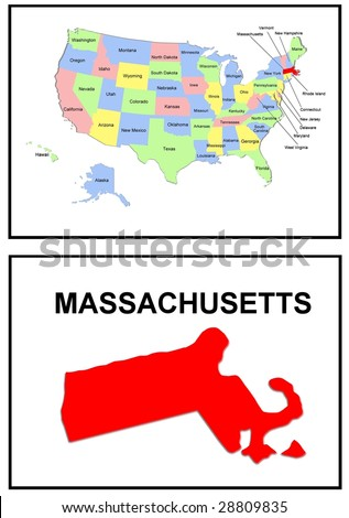 a full color map of the united states of america with the massachusetts - stock photo
