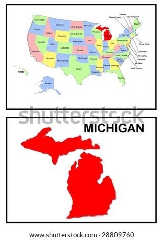 a full color map of the united states of america with the michigan - stock photo