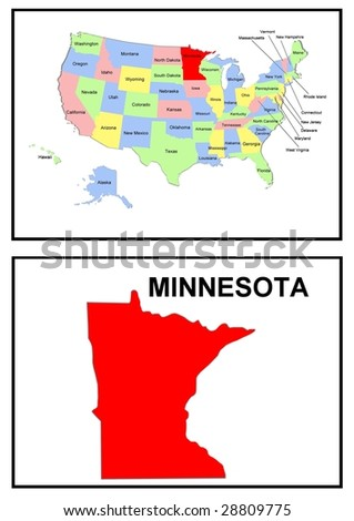 a full color map of the united states of america with the minnesota - stock photo