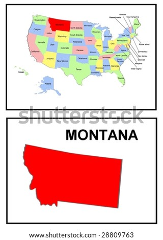 a full color map of the united states of america with the montana - stock photo