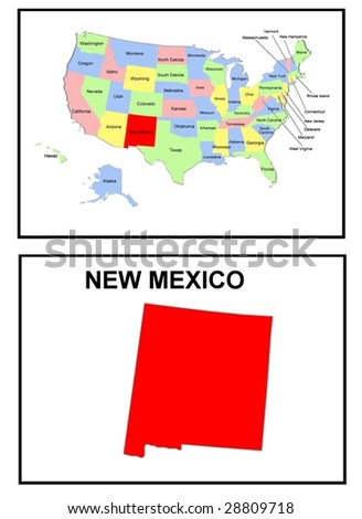 a full color map of the united states of america with the new mexico - stock photo