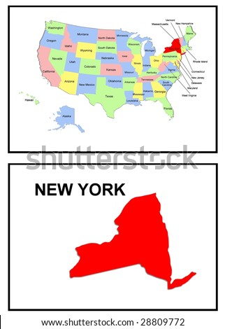 a full color map of the united states of america with the new york - stock photo