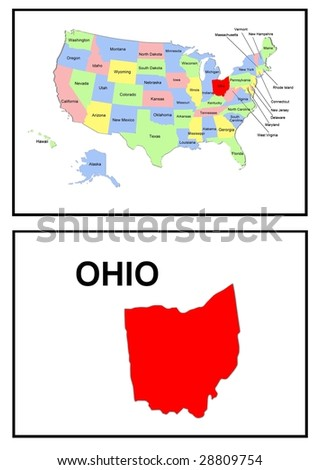 a full color map of the united states of america with the ohio - stock photo