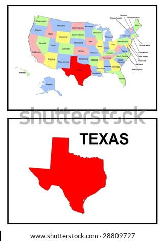 a full color map of the united states of america with the texas - stock photo