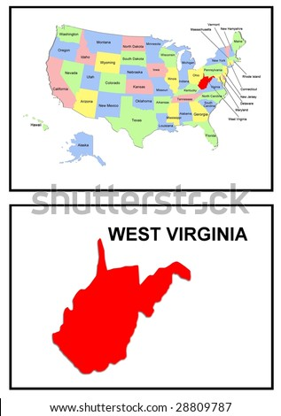a full color map of the united states of america with the west virginia - stock photo