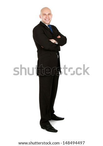 A full-length ortrait of a successful businessman, isolated on white background - stock photo