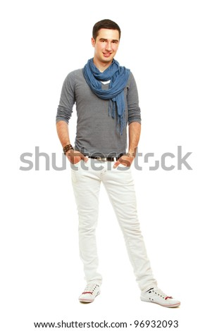 A full-length portrait of a young handsome guy, isolated on white background - stock photo
